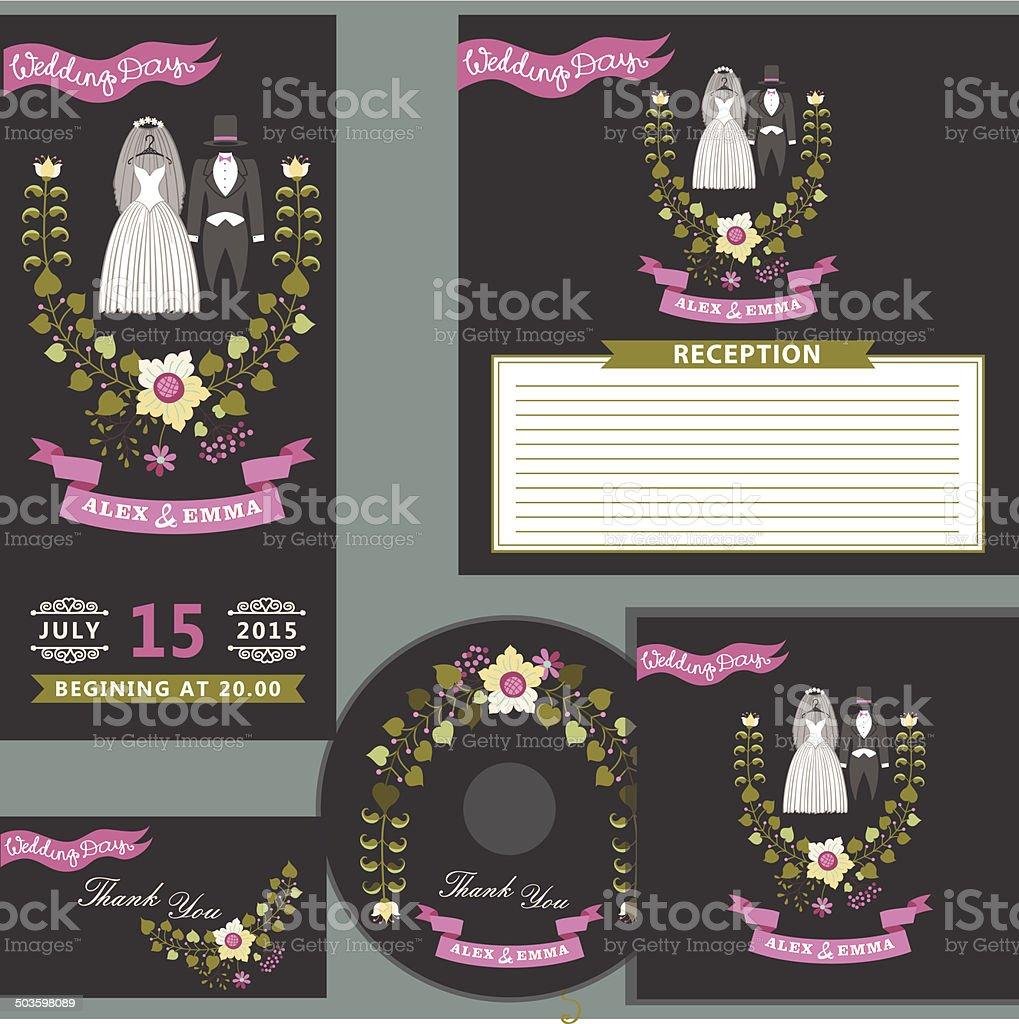 Cute wedding design  template set with floral wreath vector art illustration