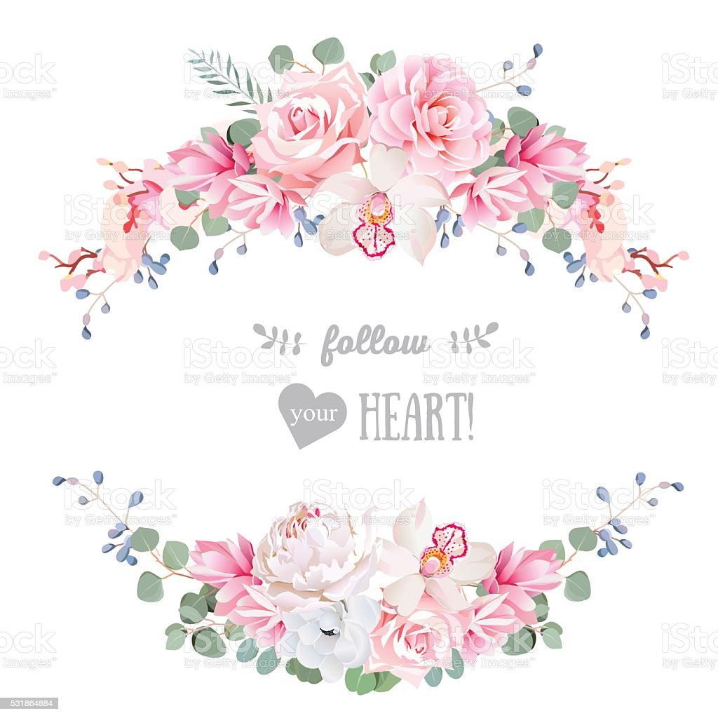 Cute Wedding Floral Vector Design Frame Floral Banner Stripe