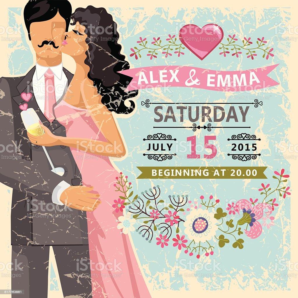 Cute wedding invitation.Floral element, bride, groom vector art illustration