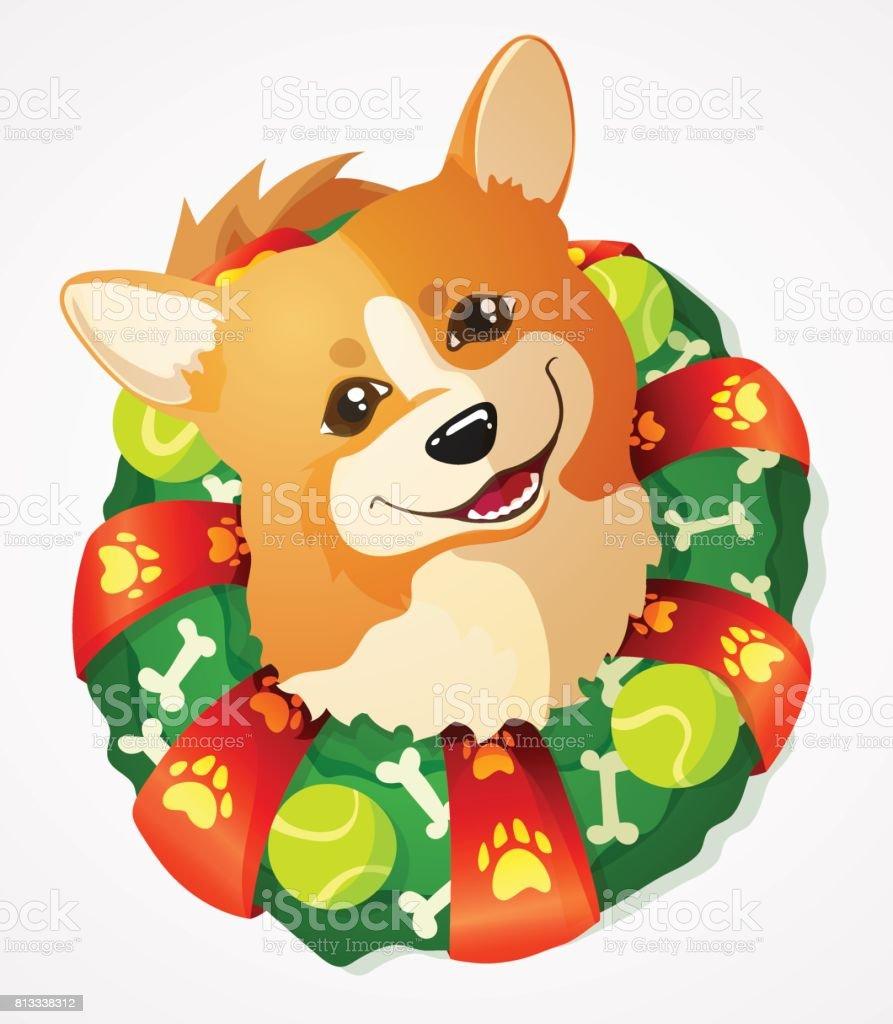 Cute Welsh Corgi dog and Christmas Wreath, cartoon vector illustration vector art illustration