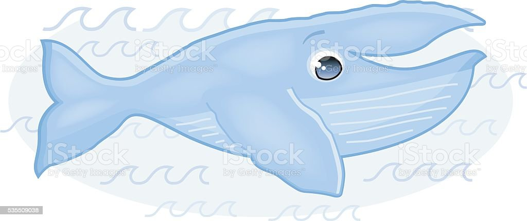 cute whale (humpbackwhale/buckelwal) vector art illustration