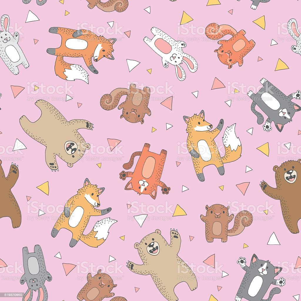Cute wild forest animals vector art illustration