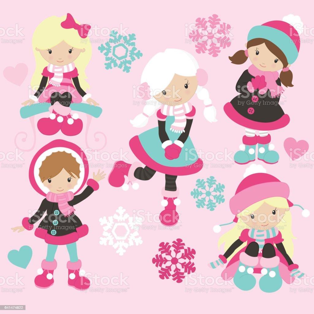 Cute Winter Girls vector art illustration