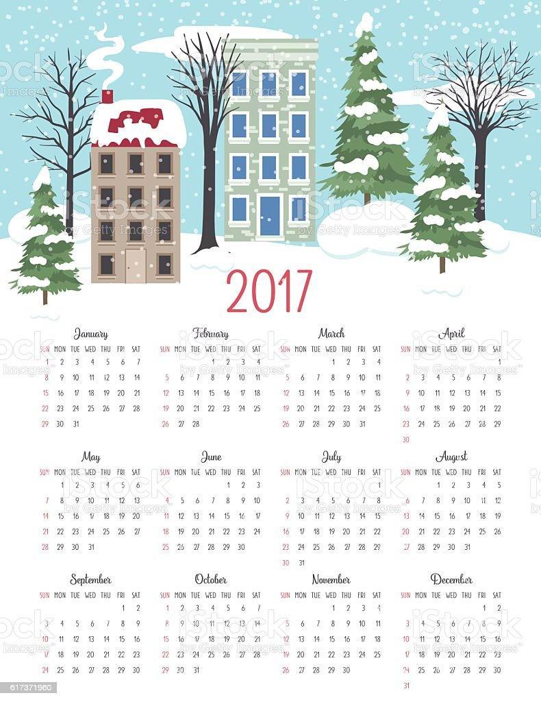 Cute Winter Houses 2017 Calendar Vector vector art illustration