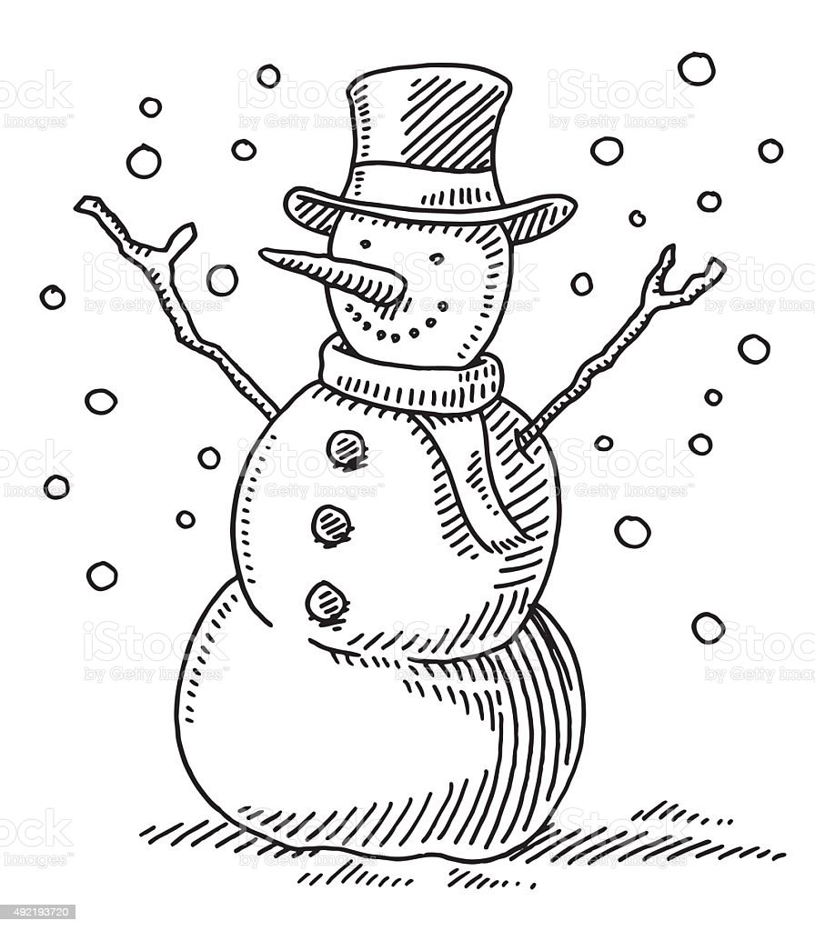 Cute Winter Snowman Drawing vector art illustration