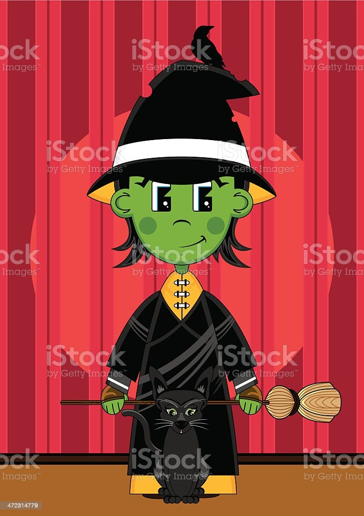 Cute Witch & Black Cat on Stage royalty-free stock vector art