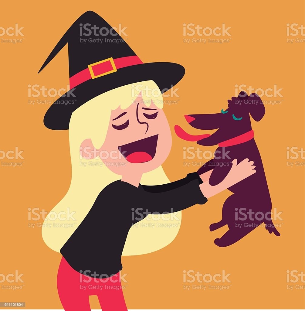 Cute Witch Holding Dog vector art illustration