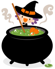 Cute Witch Stirring Her Cauldron vector art illustration