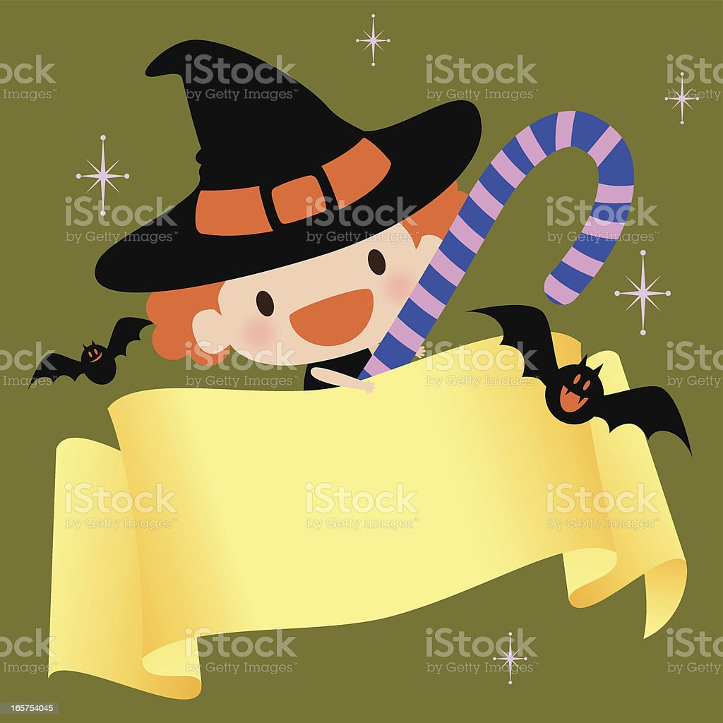 Cute Witch with candy cane and blank sign vector art illustration