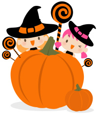Cute Witch with Lollipop and Pumpkin vector art illustration