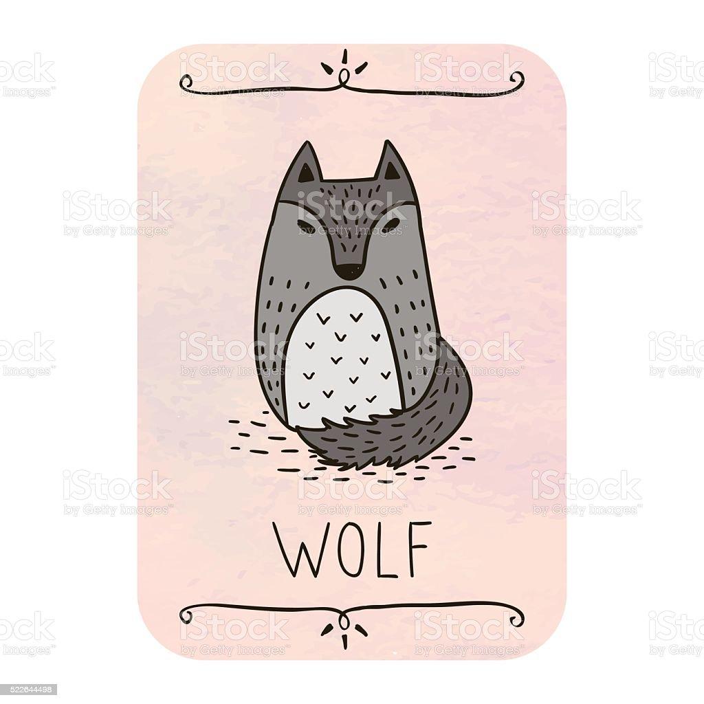 Cute wolf. Card. vector art illustration