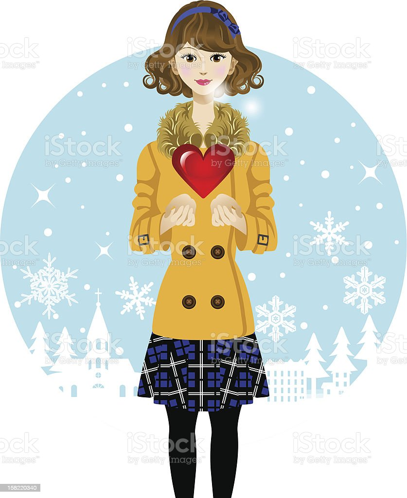 Cute woman and Red Heart -winter- royalty-free stock vector art