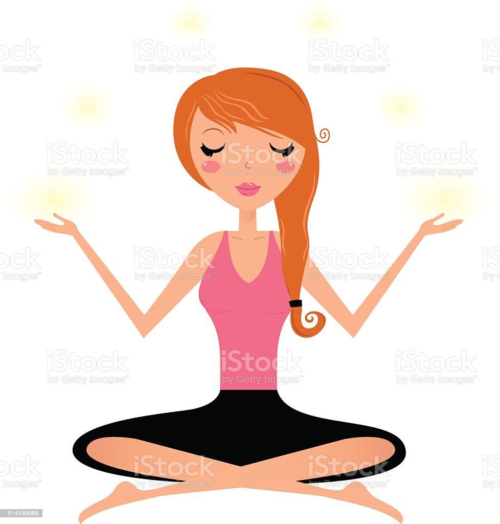 Cute woman doing yoga asana isolated on white vector art illustration