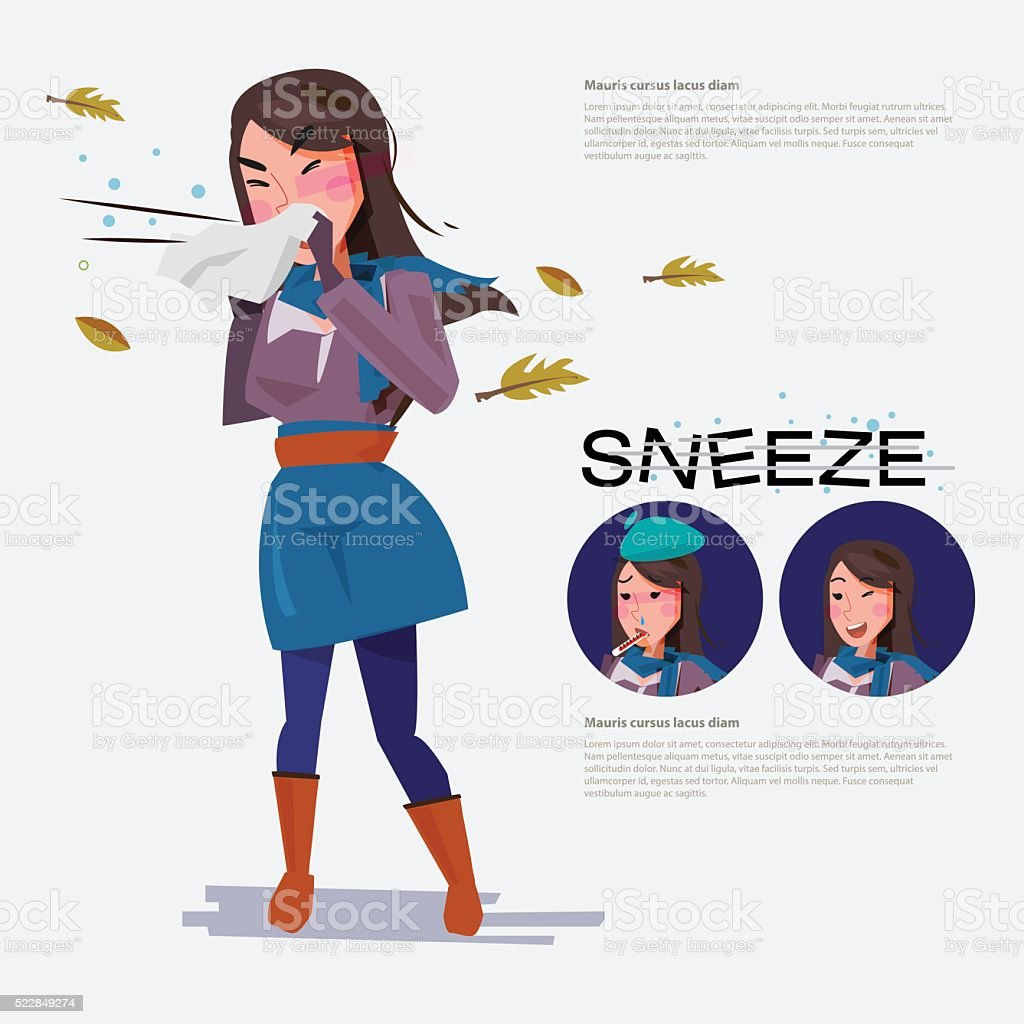 cute woman going to sneeze beacause weather- vector vector art illustration