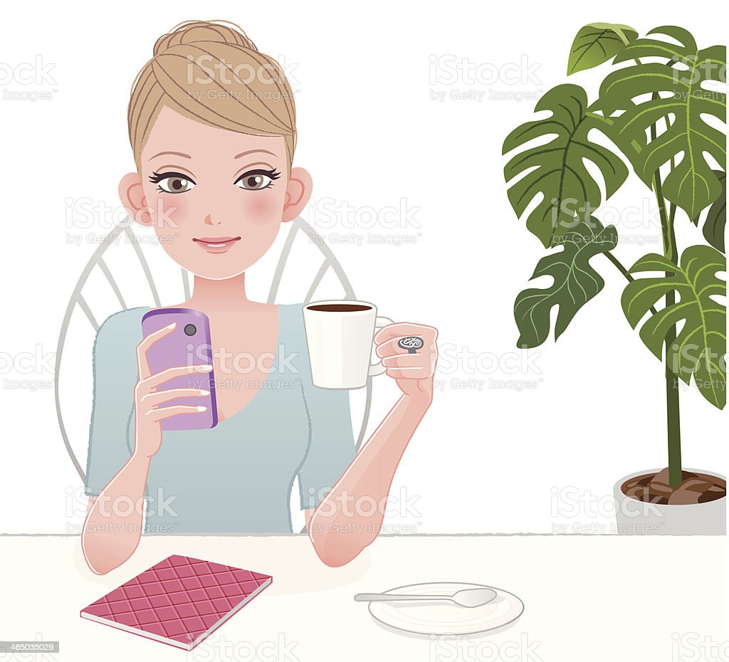 Cute woman holding and looking into smart phone screen royalty-free stock vector art
