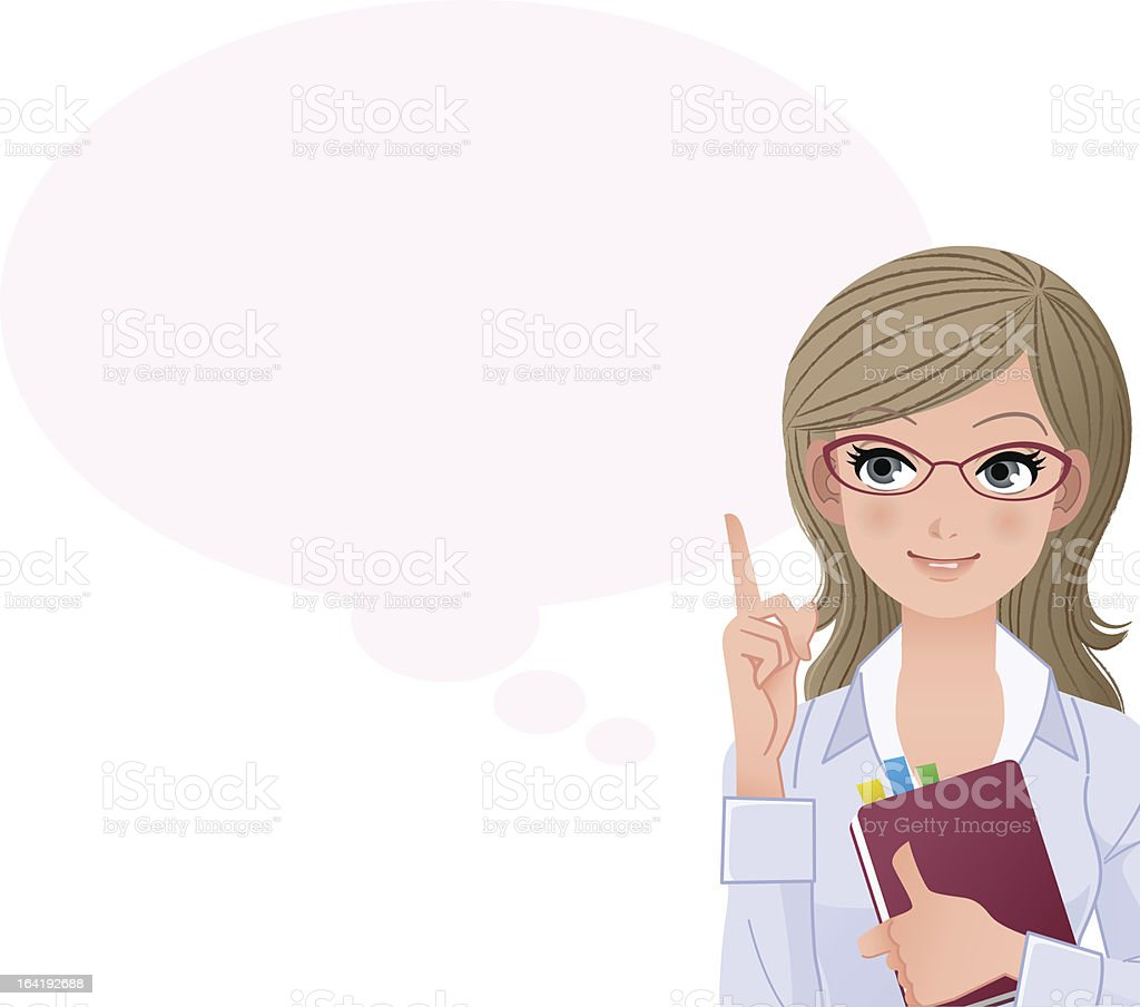 Cute woman pointing up with index finger royalty-free stock vector art