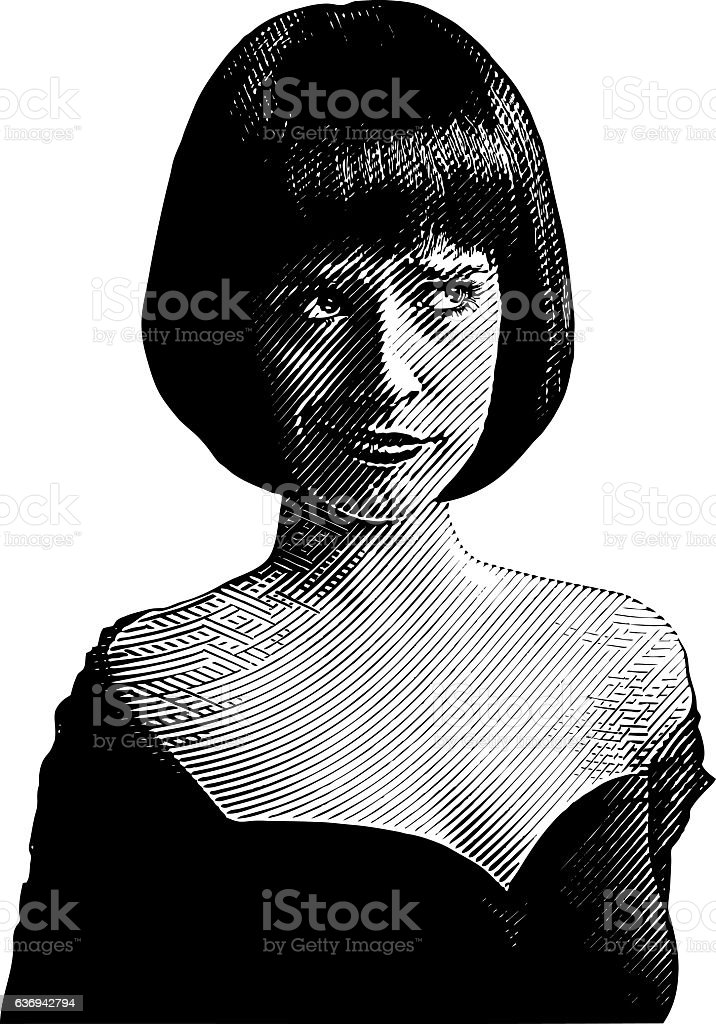 Cute Woman With Skeptical Expression vector art illustration