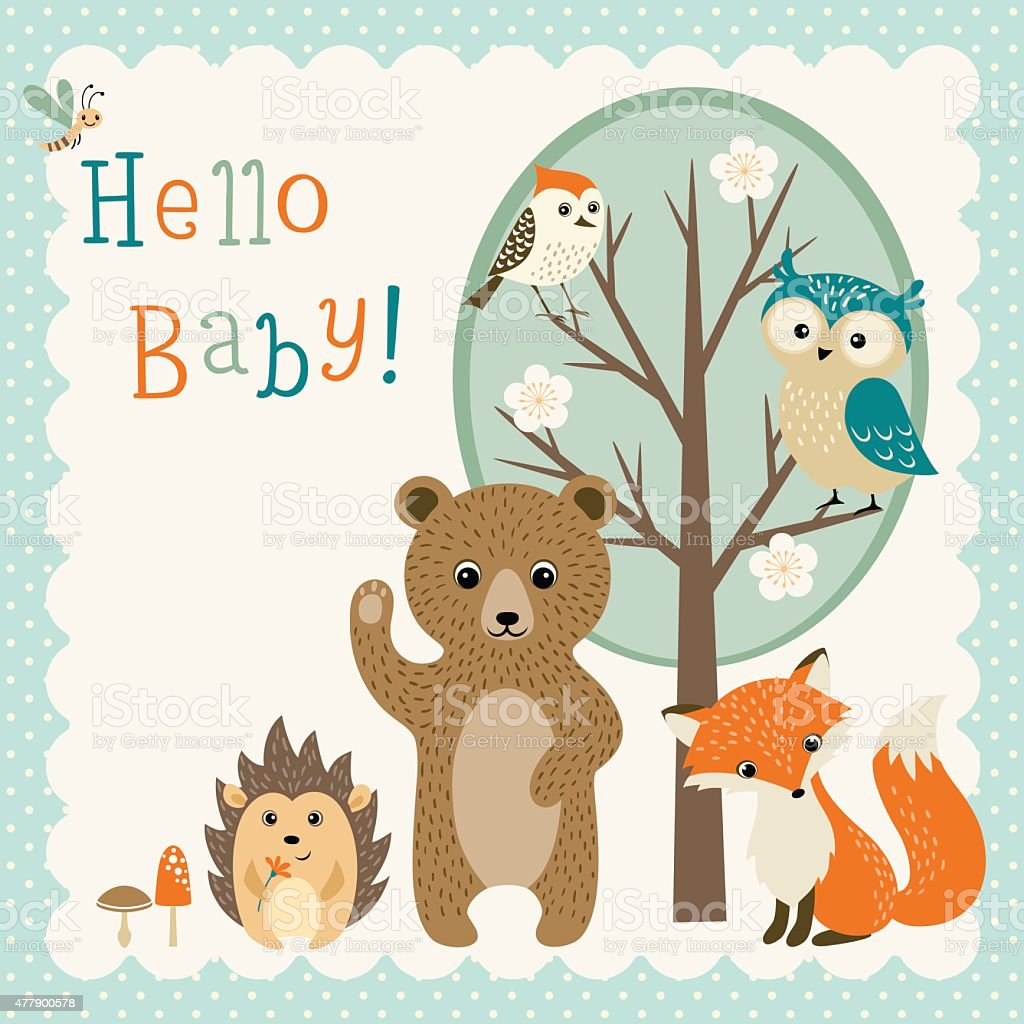 Cute woodland friends baby shower vector art illustration
