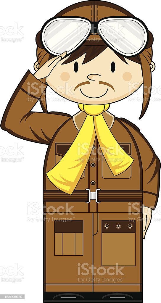 Cute WW1 Style Pilot royalty-free stock vector art