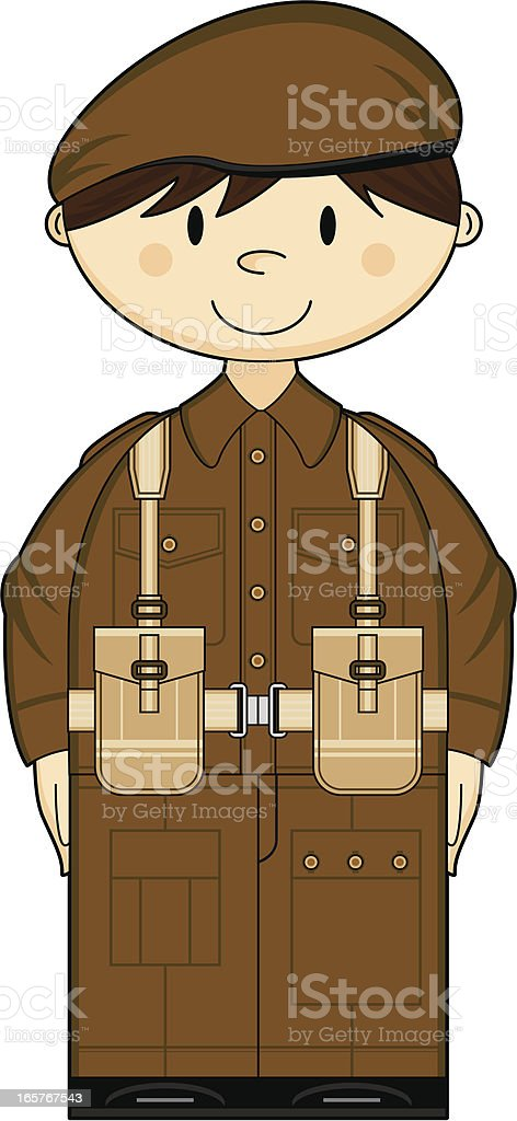Cute WW2 British Army Private royalty-free stock vector art
