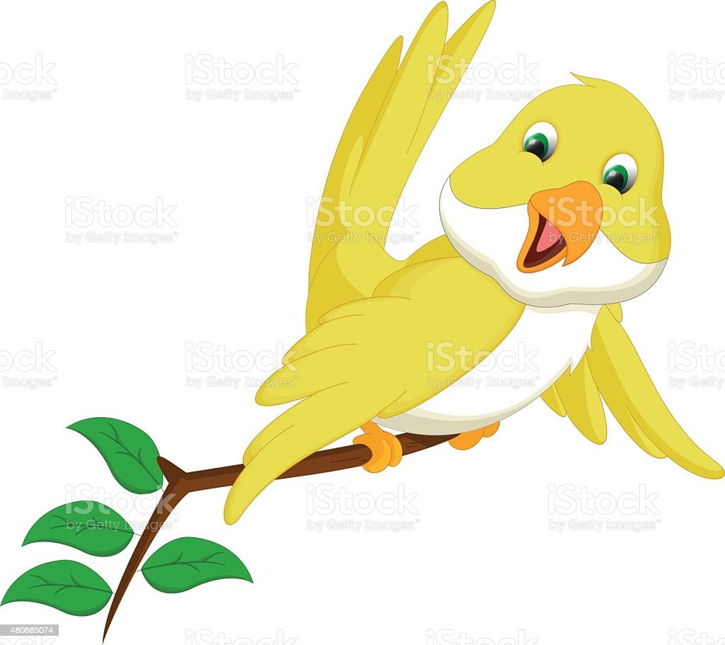 cute yellow bird cartoon vector art illustration