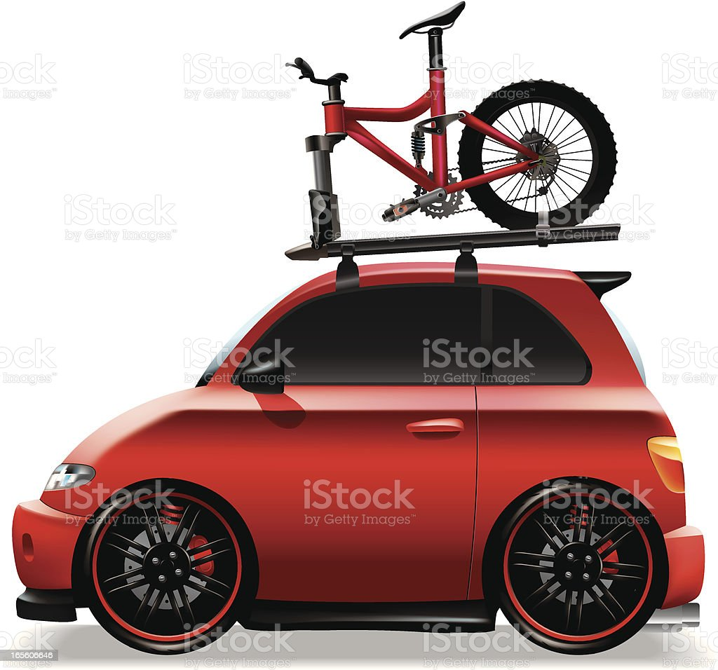 Cute yellow car with mountain bike royalty-free stock vector art