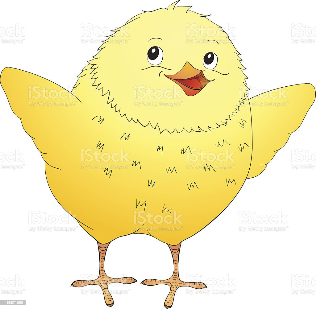 Cute yellow cartoon baby chicken royalty-free stock vector art