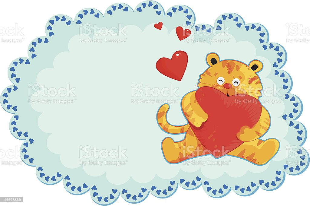 Cute Yellow Tiger Holding Heart Valentine Card royalty-free stock vector art