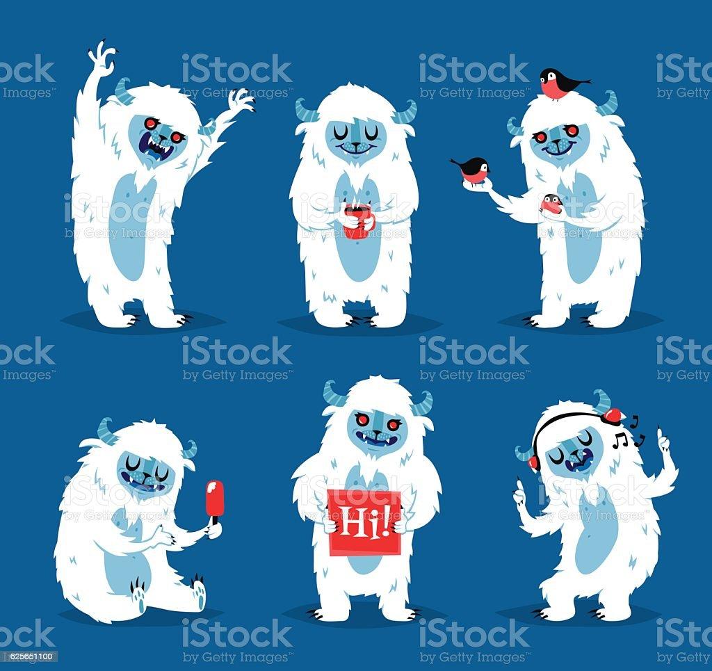 Cute yeti biigfoot monsters vector set. vector art illustration