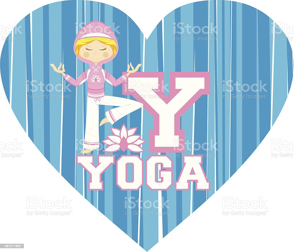 Cute Yoga Girl Illustration royalty-free stock vector art