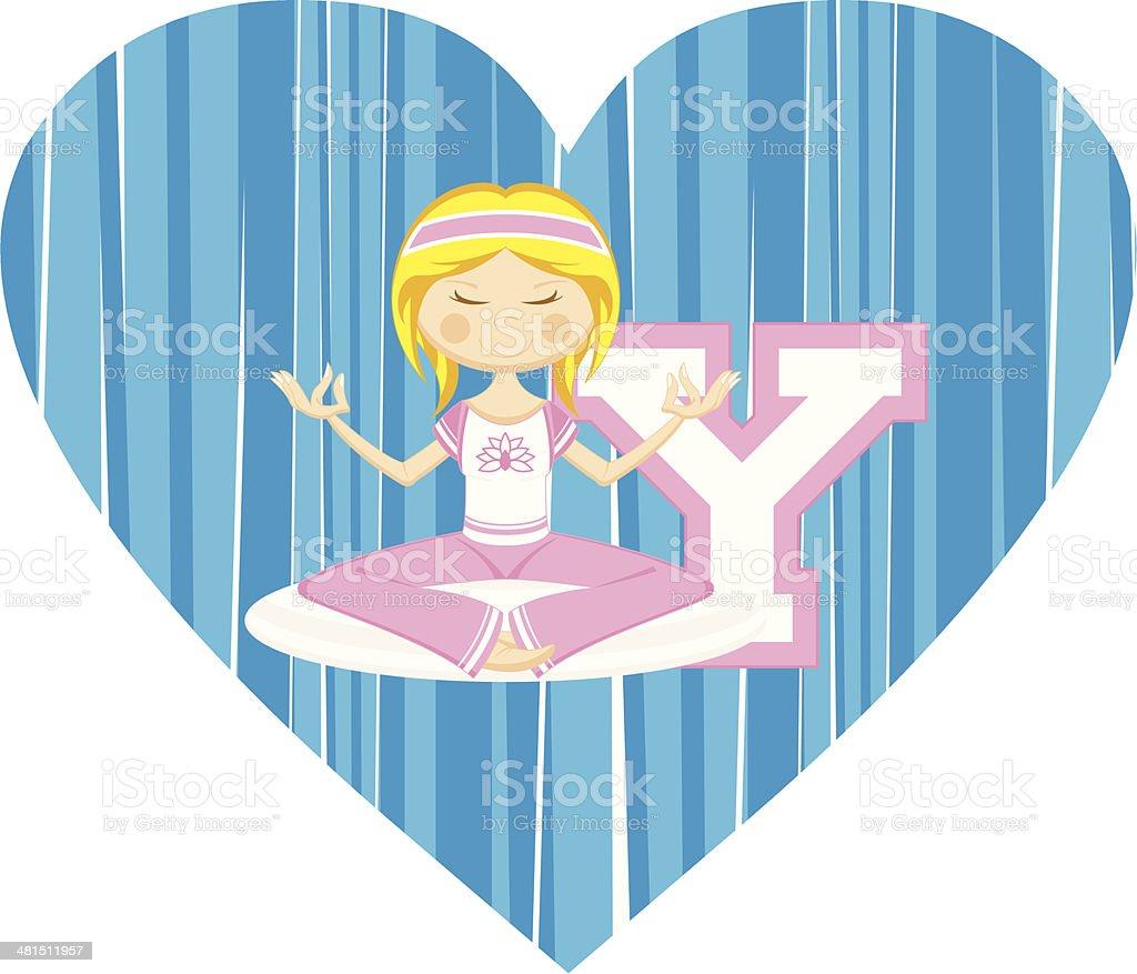 Cute Yoga Girl Illustration royalty-free stock vector art