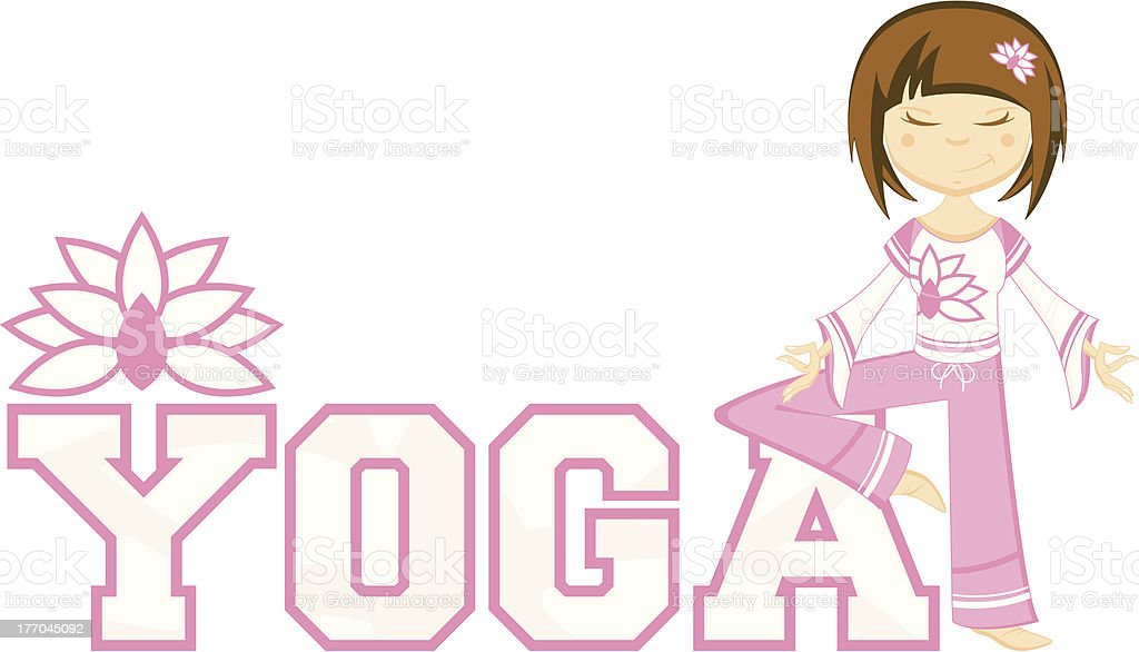 Cute Yoga Girl Learning Illustration royalty-free stock vector art