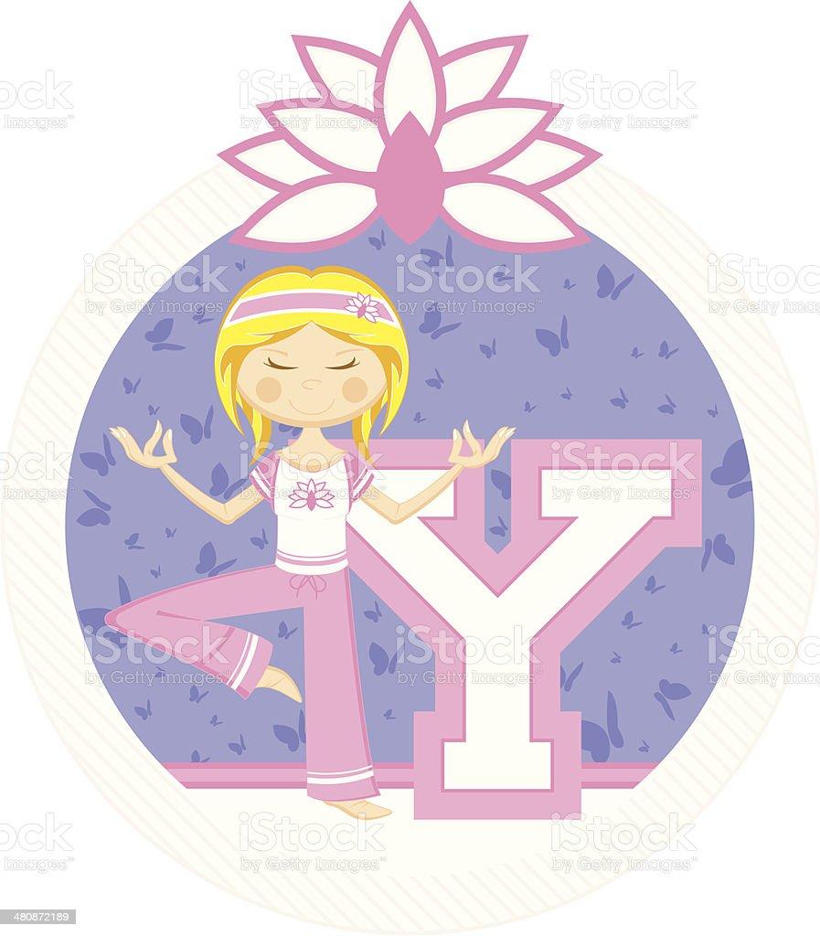 Cute Yoga Girl Learning Letter Y vector art illustration