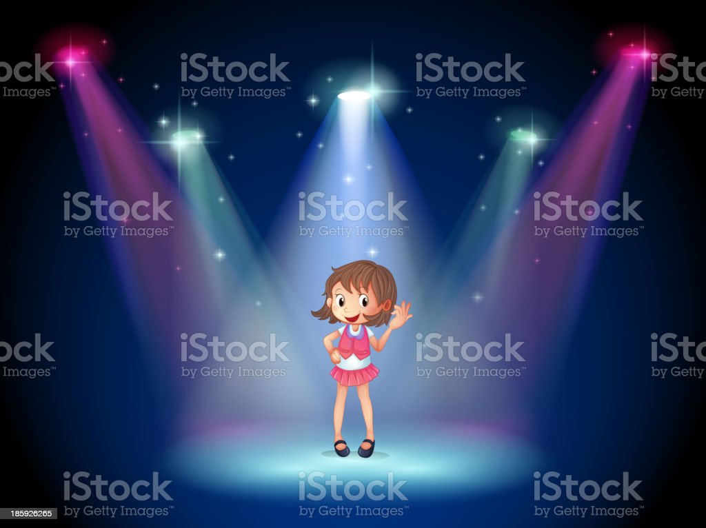 cute young girl at the stage royalty-free stock vector art