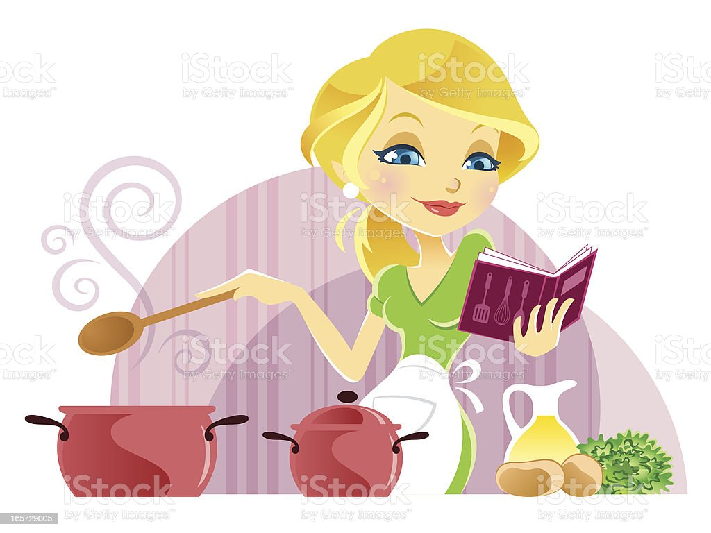 Cute Young Woman Cooking while reading Recipe Book royalty-free stock vector art
