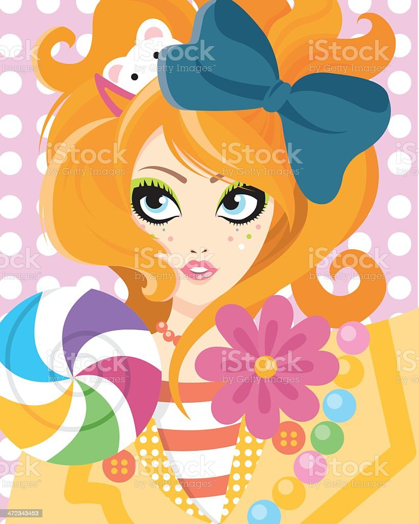 Cute young woman royalty-free stock vector art