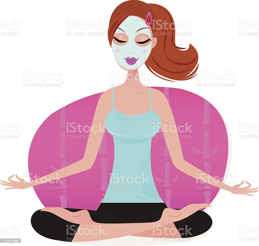 Cute young Woman with Facial mask doing yoga pose vector art illustration