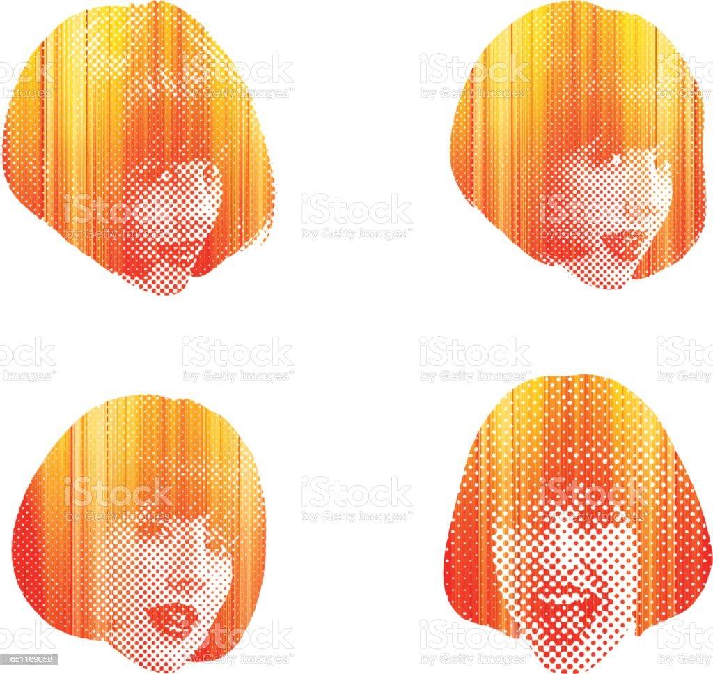 Cute Young Woman's Facial Expressions vector art illustration