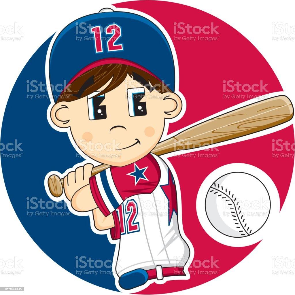 Cute Youth League Baseball Boy vector art illustration