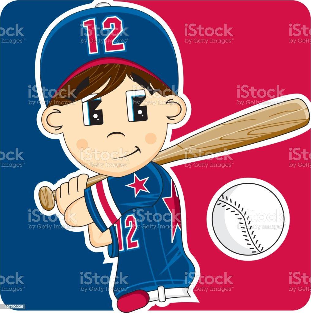 Cute Youth League Baseball Boy royalty-free stock vector art