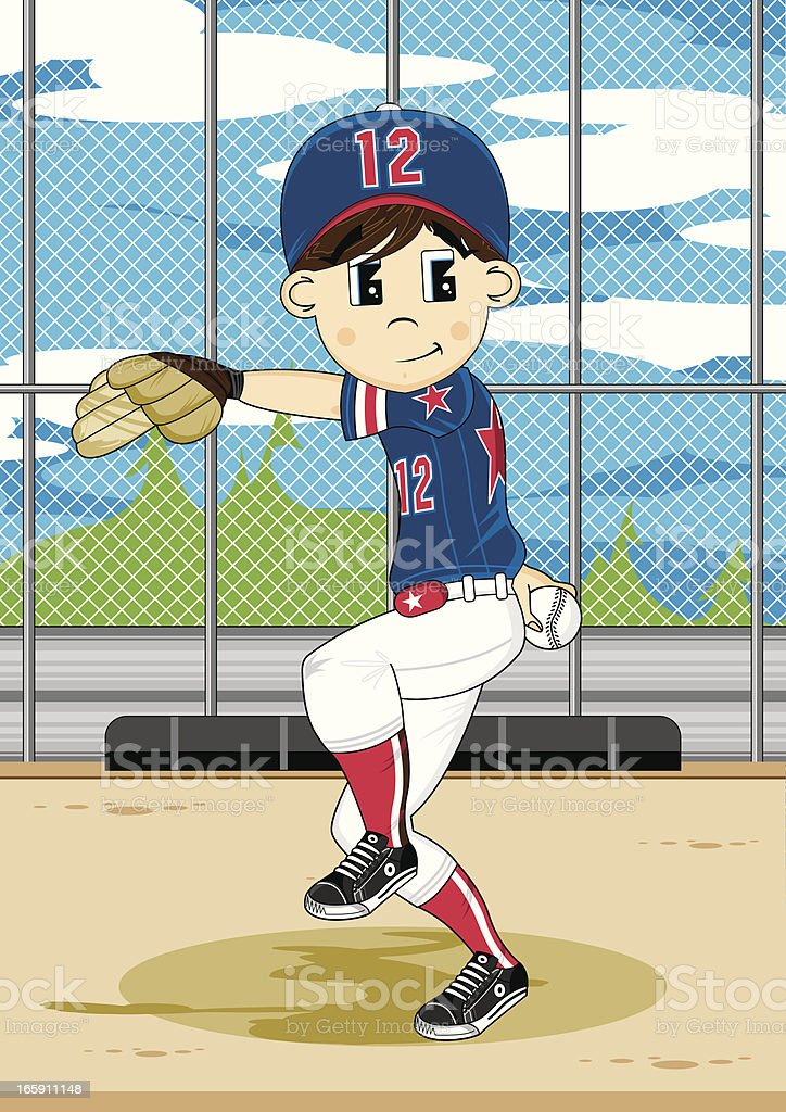 Cute Youth League Baseball Pitcher Scene royalty-free stock vector art