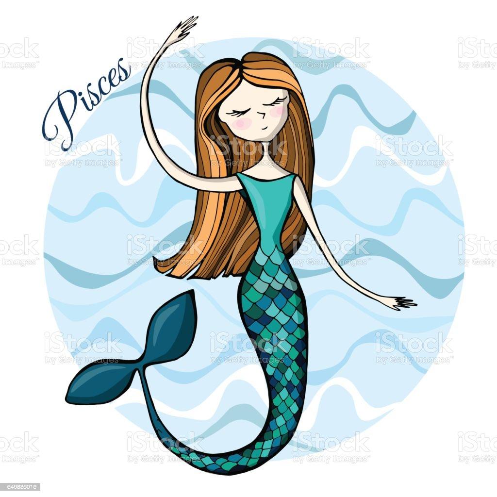 Cute zodiac sign Pisces vector art illustration