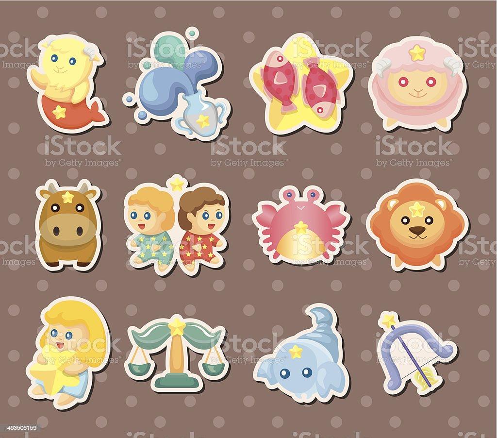 cute zodiac stickers royalty-free stock vector art