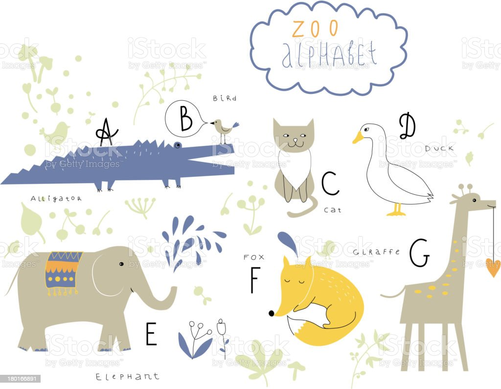 Cute zoo alphabet in vector. royalty-free stock vector art