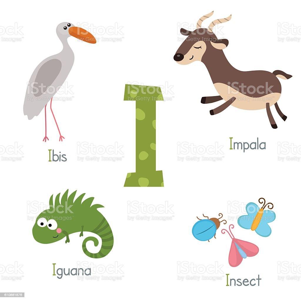 Cute zoo alphabet vector art illustration