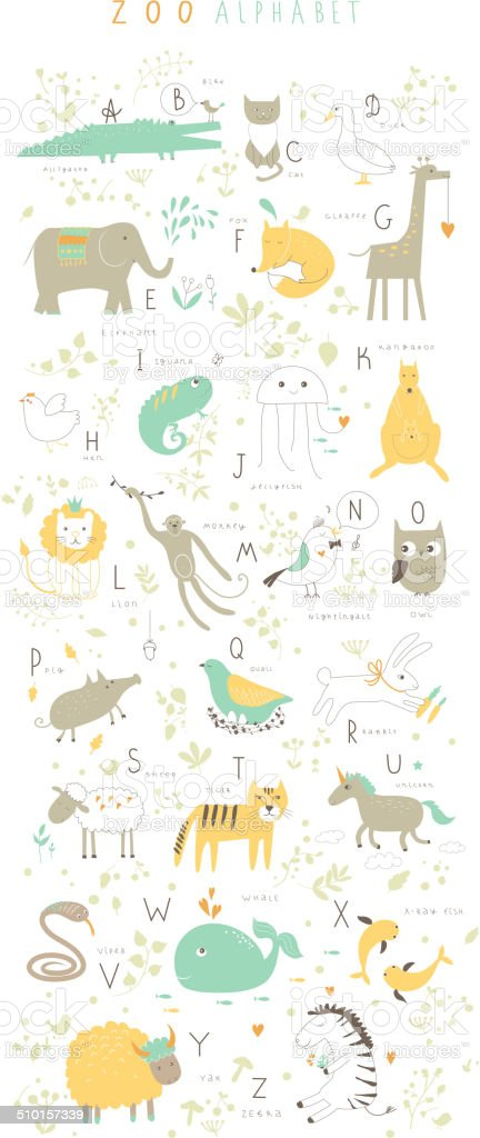 Cute zoo alphabet with funny animals in vector . Isolated. vector art illustration