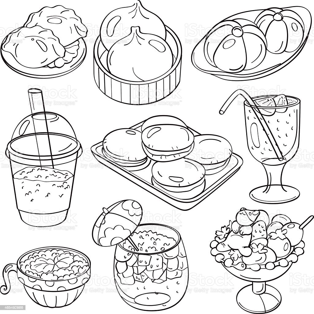 Cutie Fast Food and Drinks vector art illustration