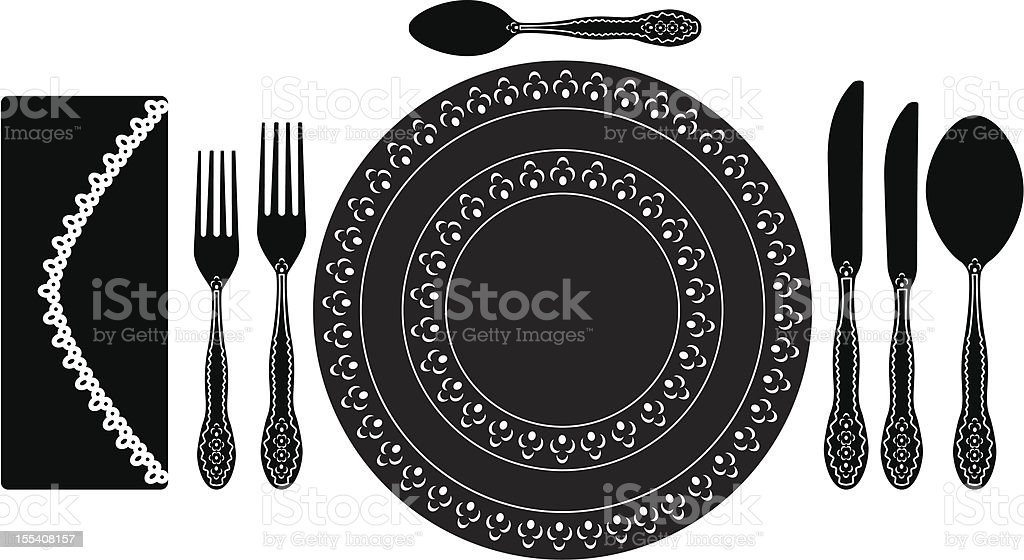 Cutlery and etiquette royalty-free stock vector art