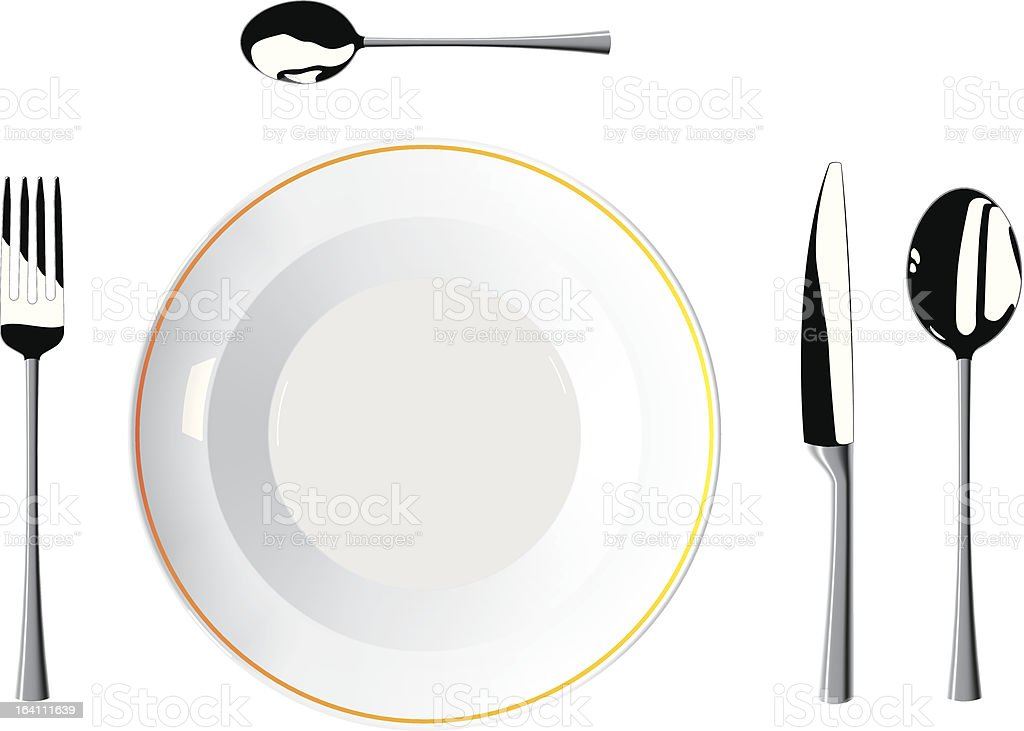 Cutlery and plates royalty-free stock vector art