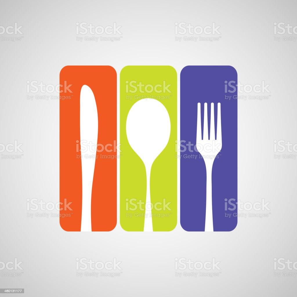 Cutlery color vector art illustration